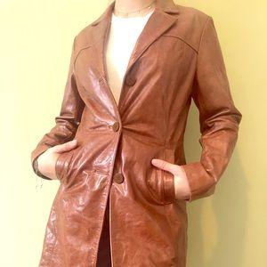 Brown Wilson Leather Dress Coat